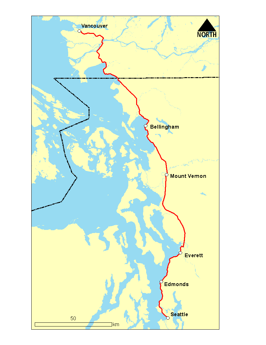 Map of Cascades route from Vancouver to Seattle