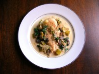 Chicken, Leeks, and Spinach in a Creamy Wine Sauce