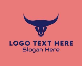 modern cyber bull logo