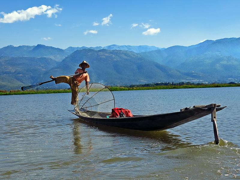 Leg rowing fisherman - Myanmar