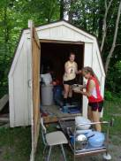 Volunteers organization a shed