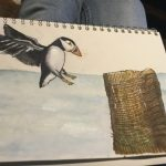 Watercolour of Puffin coming in for a landing - the net draped pilon was a rubber stamp from Local Rubber King.