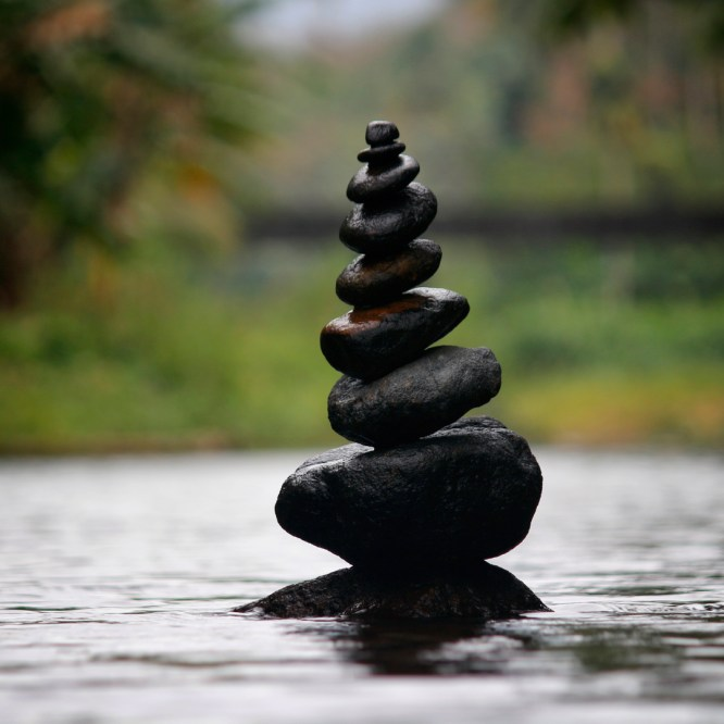 Pebbles balanced on top of one another