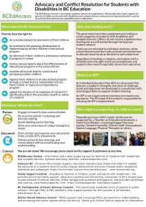 Page 1 of the Advocacy and Conflict Resolution brochure in English. PDF version is below these images.