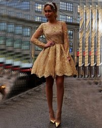 Gold Sequins Appliques Lace Short Prom Dresses,2016 Long ...