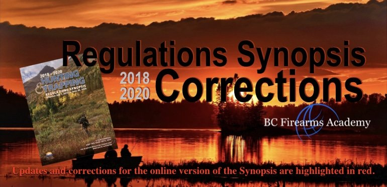 2018-2020 Regulations Synopsis Corrections and Updates BC