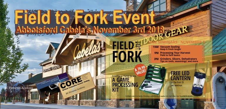 Field to Fork Cabela's Abbotsford November 3rd 2018