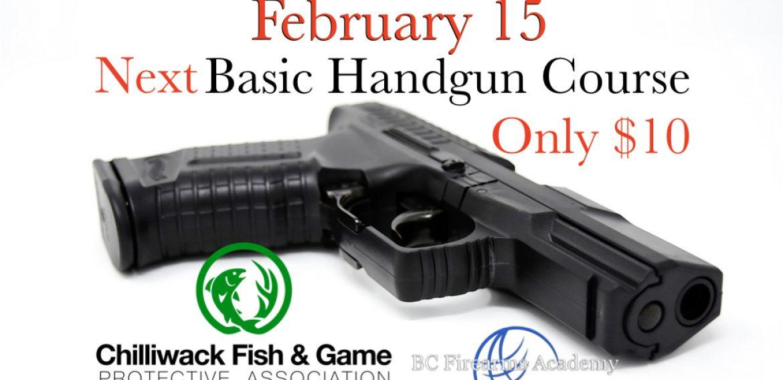Next February 15th 2020 Basic Handgun Familiarization Course
