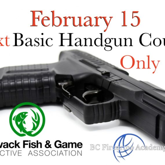 Next February 15th 2020 Basic Handgun Familiarization Course