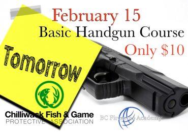 Basic Handgun Familiarization Course Tomorrow February 15th