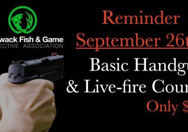 Reminder Basic Handgun Familiarization Course September 26th