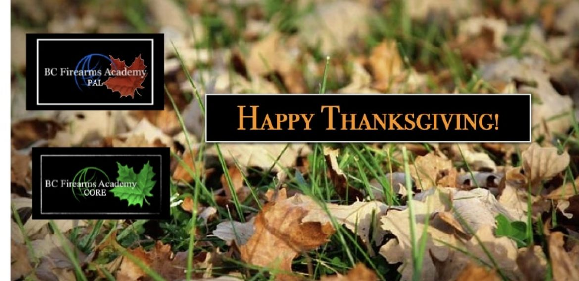 Happy Thanksgiving From BC Firearms Academy