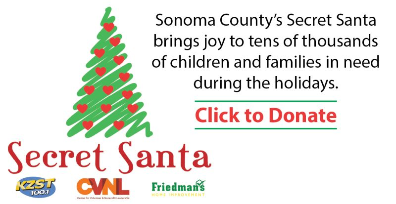 Sonoma County's Secret Santa brings joy to tens of thousands of children and families in need during the holidays. Click to Donate.