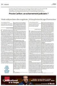 2015 - Tribune - Marie Burguburu - « Procès Carlton : un acharnement judiciaire ? » - Le Monde