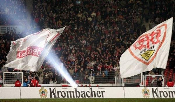 Krombacher mit Bandenwerbung beim VfB Stuttgart in der Bundesliga