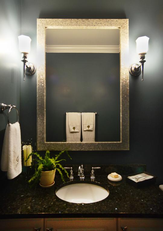 B CHIC INTERIORS  Art Deco Powder Room in Ellicott City