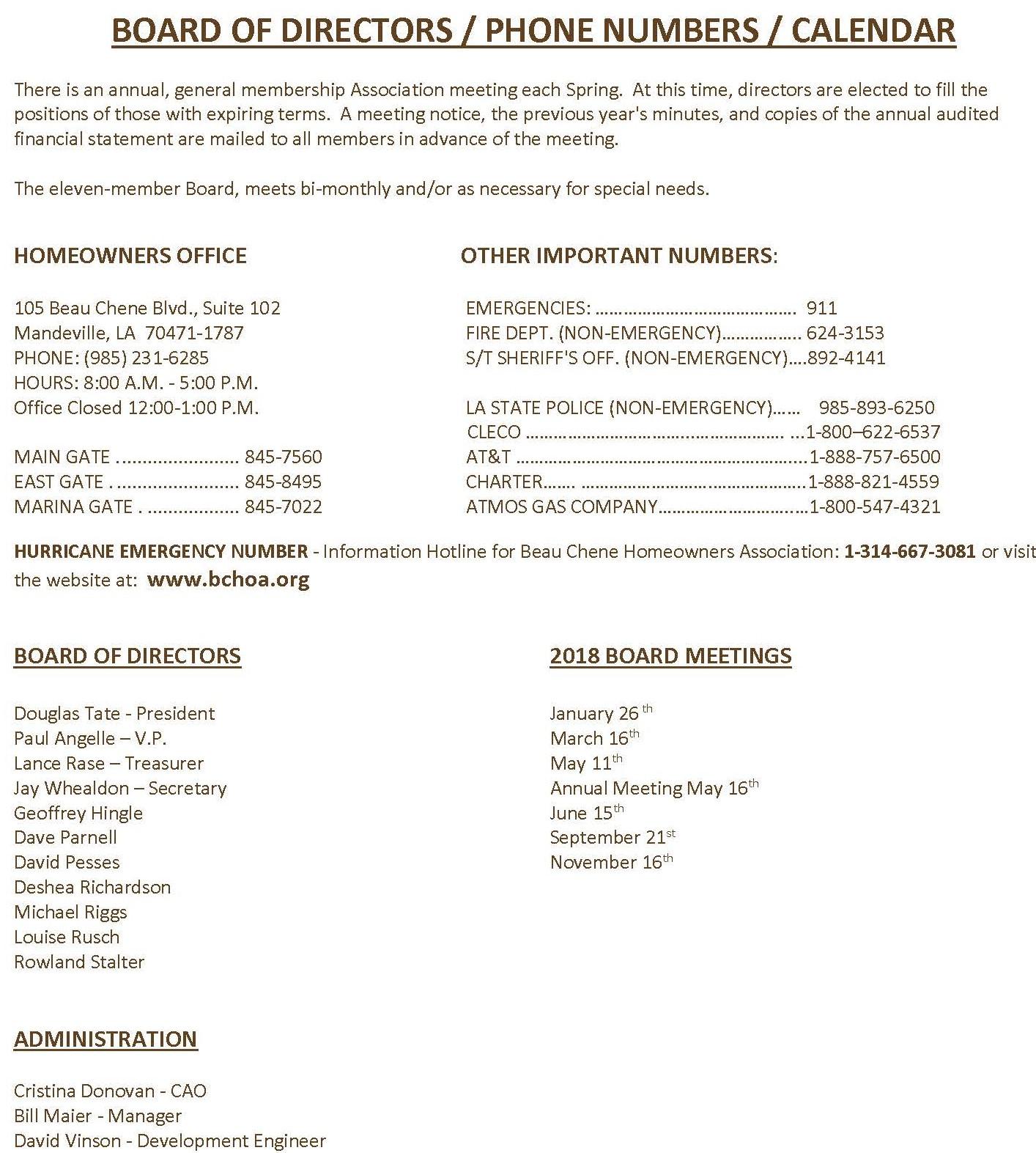 Summary of Rules - Beau Chêne Homeowners Association