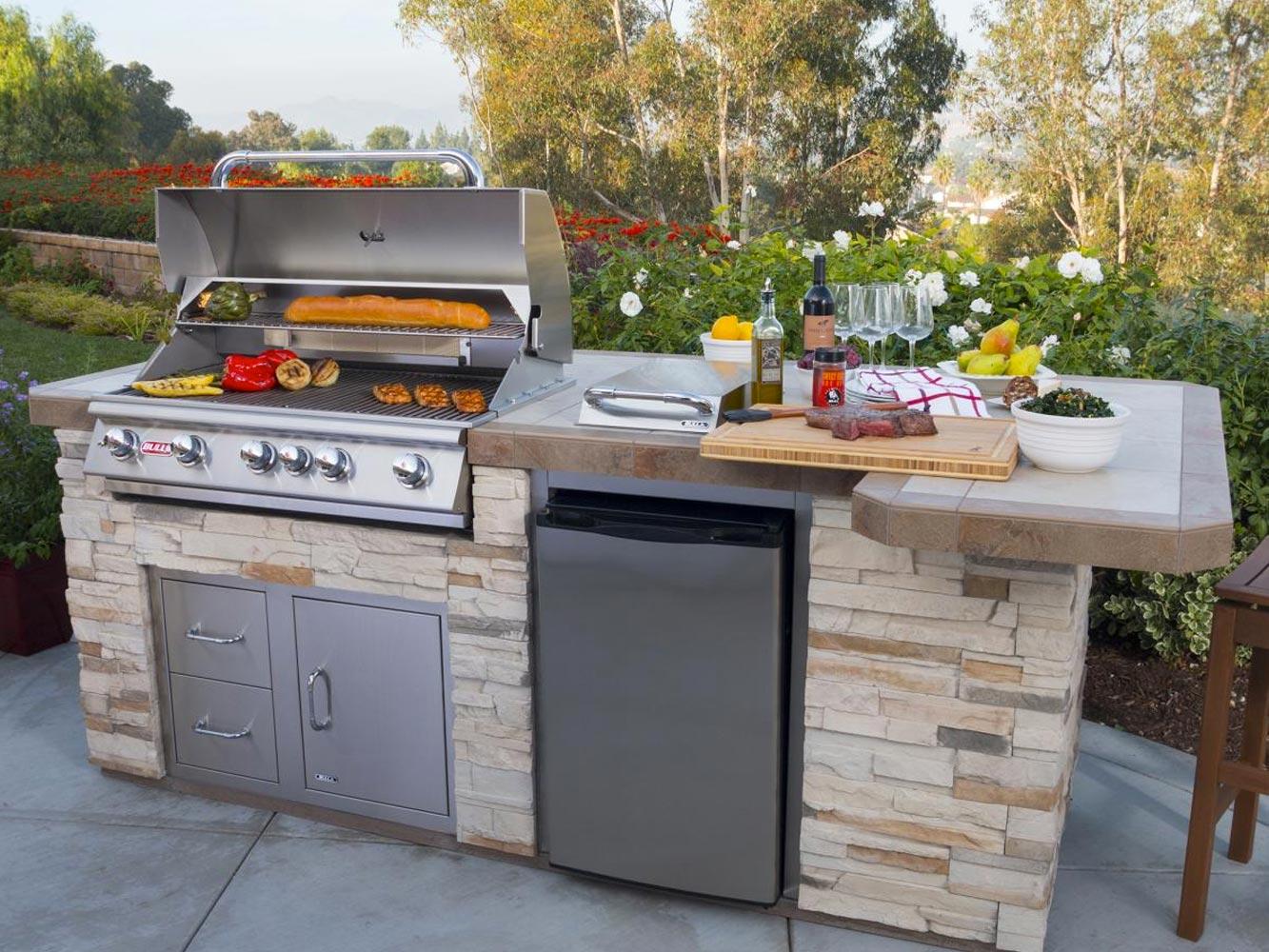 outdoor kitchen bbq wood tile floor bc home leisure