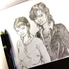 Jeannie and her mom pencil sketch