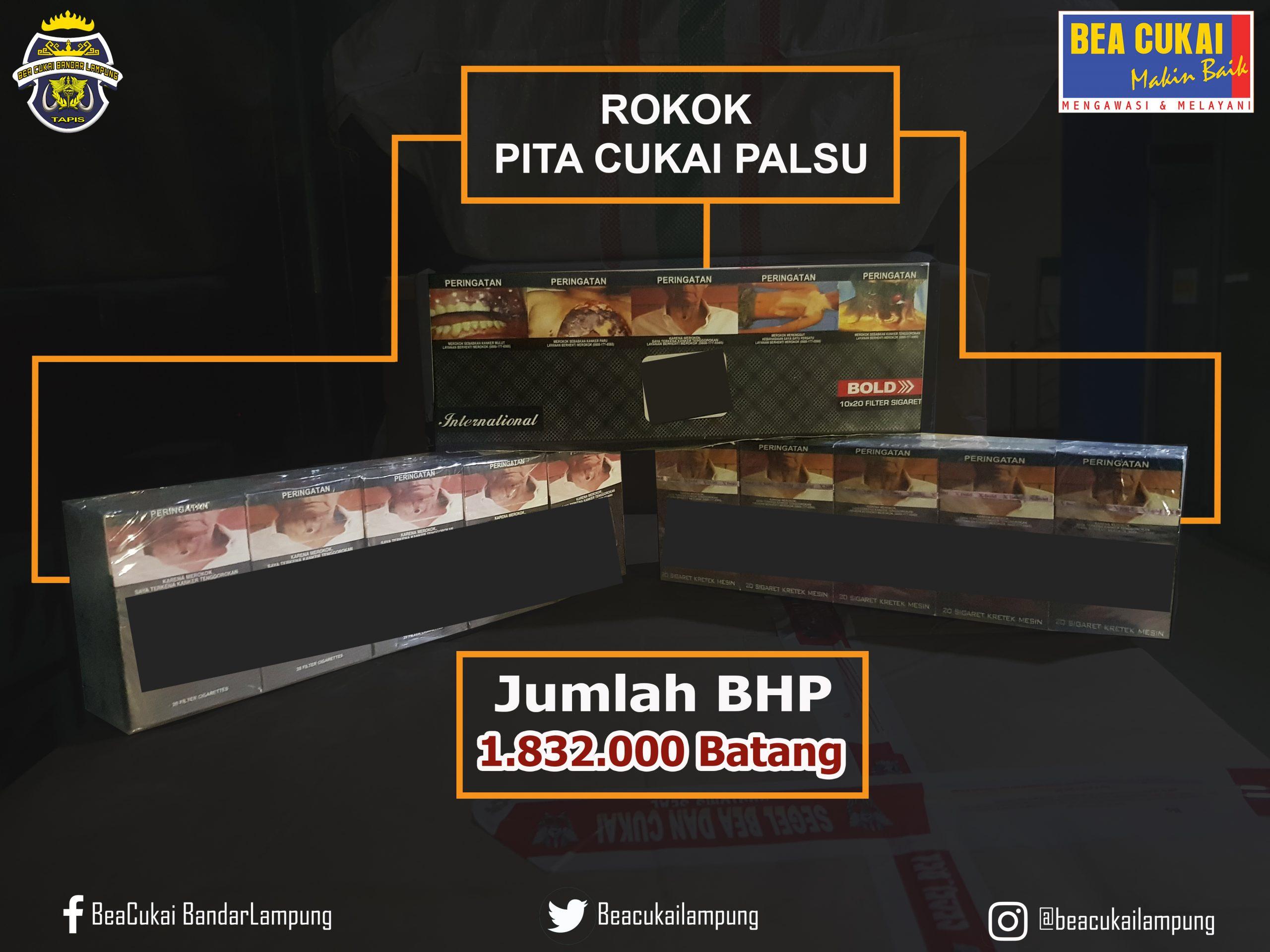 Gagal kabur dari Petugas, Bea Cukai Bandar Lampung Berhasil Amankan Jutaan Batang Rokok Ilegal