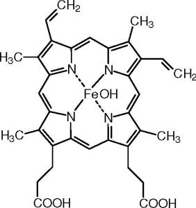 Figure 1. Hematin, a oxidized form of heme used to treat hepatic attacks of VP by inhibition of heme biosynthesis. Source: http://www.answers.com/topic/hematin
