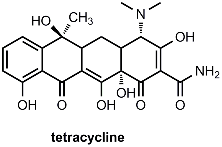 Fig. 6. Structure of the antibiotic tetracycline. Tetracycline functions by inhibiting bacterial protein synthesis by preventing the association of aminoacyl-tRNA with the bacterial ribosome.