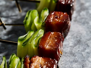 Sticky Pork Belly and Cucumber Skewers