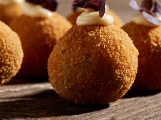 Wild Mushroom Risotto Balls With Roasted Garlic Aioli