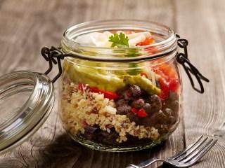 'Cauliflower Rice' Burrito Bowl With Black Beans, Tomato Salsa and Guacamole