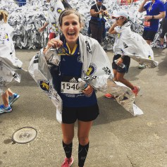 Celebrating completion of the marathon.