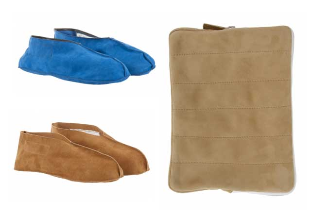 Zapatillas de piel-de doblefaz y funda iPad