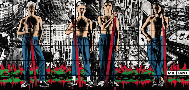 © Gilbert & George. Courtesy Jay Joplin, White Cube Gallery, London. Gilbert (1943, Italie) & George (1942, Royaume-Uni) Militant from Class War, Militant, Gateway, 1986