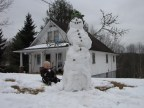 The snowman my mom made with my son on Thursday...