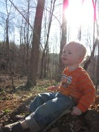 Watching his daddy approach on the 4 wheeler.