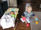 Ezra sharing his blocks with Elam