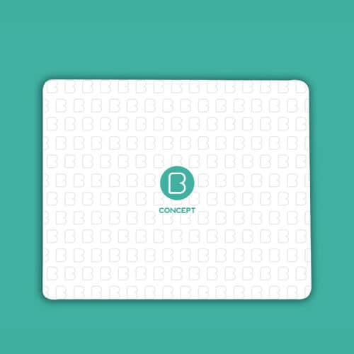 Quality Mouse pad with the corporate logo in green on a grey logo background. bconceptgroup.com