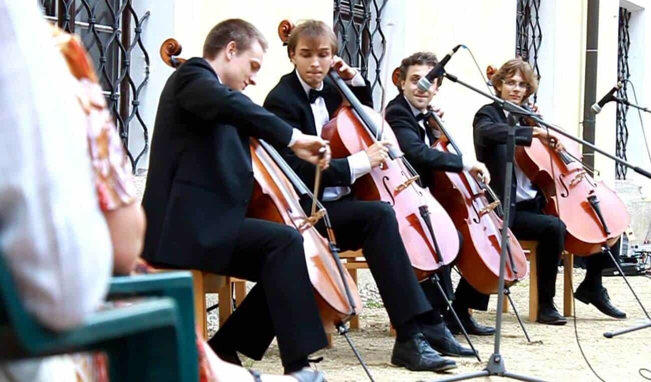 Prague Cello Quartet performs at different locations. bconceptgroup.com