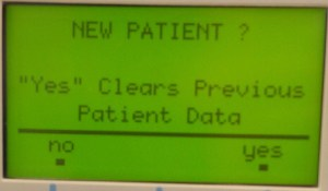"Clinician Prompt ""New Patient?"" Software Version 4.54"