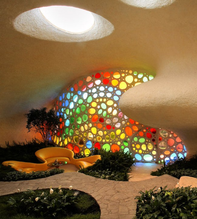 The Nautilus House by Javier Senosiain - Stained Glass, Foyer & Sitting Room