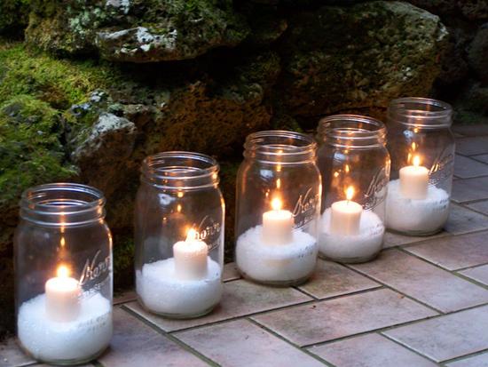 Epsom Salt Mason Jar Lanterns