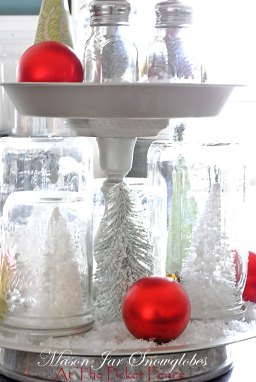 Do It Yourself Mason Jar Snow Globes from At the Picket Fence