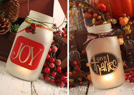 Frosted Mason Jar Lanterns with Holiday Decals