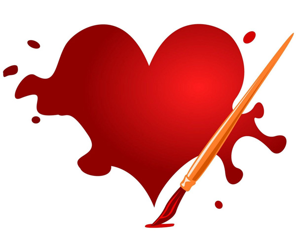 Artistic Heart & Paintbrush