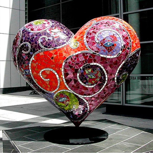 Mosaic Heart by Artist Laurel True in San Francisco @ http://www.truemosaics.com/gallery_public_02.html#