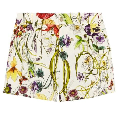 Gucci Flora Print Linen Shorts