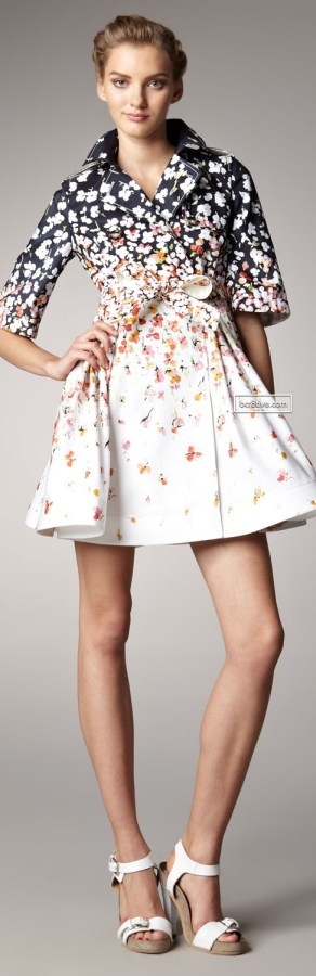 RED Valentino Floral-Print Tie Coat
