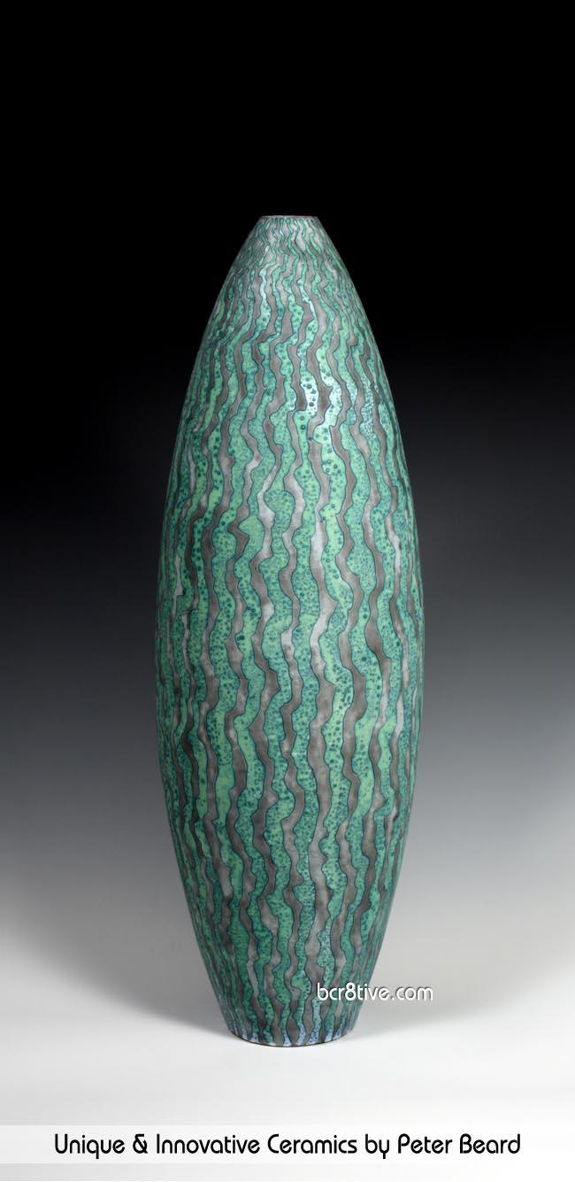 Peter Beard Ceramics - Green and Gray Vessel