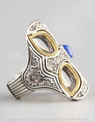 Konstantino Cutout Cross Lapis Ring