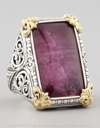 Konstantino Rectangle Silver & 18k Gold Ruby Quartz Ring