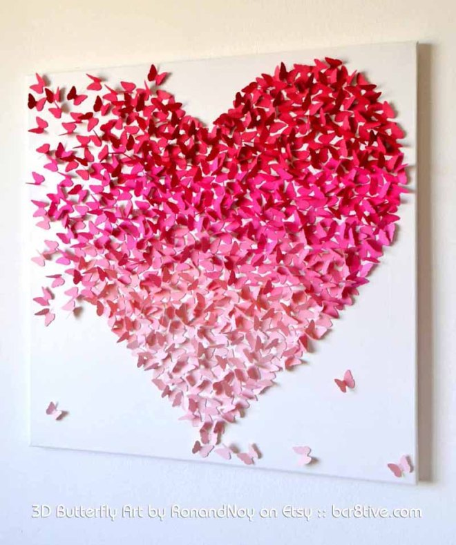 3D Butterfly Heart by RonandNoy on Etsy - Creative Butterfly Decor